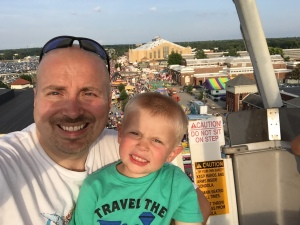 Tucker and I up high on the Ferris Wheel at the State Fair