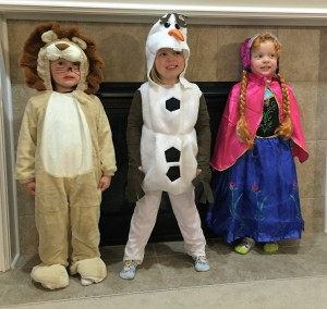 The kids all dressed up for Halloween.  Syd was going to be Repunzel but had a last minute change of heart.
